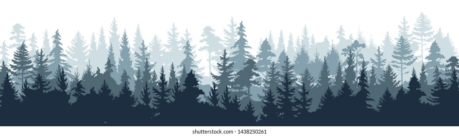 Pine forest. Silhouette wood tree background, wild nature woodland landscape. Vector image foggy tall trees misty engraved scene