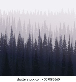 Pine forest in winter. Nature landscape vector background.