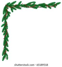 Pine garland border with beads