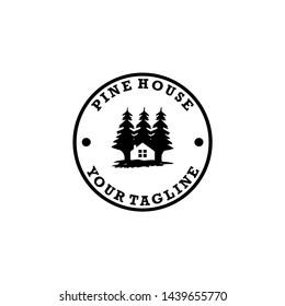 pine house lodge nature logo design