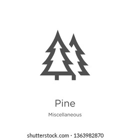 pine icon. Element of miscellaneous collection for mobile concept and web apps icon. Outline, thin line pine icon for website design and mobile, app development