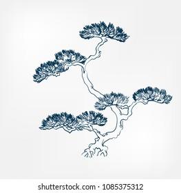 pine japanese paint style design sketch design element vector