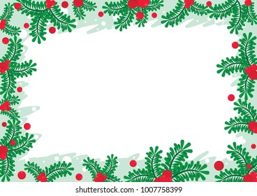 Pine leaves and red berries frame vector background design.