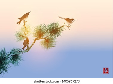 Pine tree branch and birds on sunset sky background. Traditional Japanese ink wash painting sumi-e.  Hieroglyph - happiness
