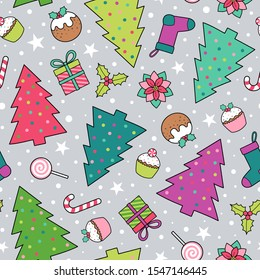 Pine tree and christmas elements seamless pattern background.
