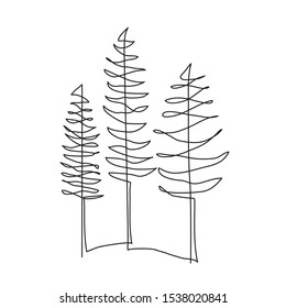 Pine tree continuous line drawing art. Abstract simple forest