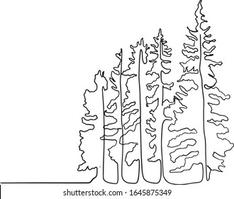 Pine tree continuous line drawing art. simple forest, one line drawing of nature tree vector illustration,  line drawing of forest with trees. minimal line doodle