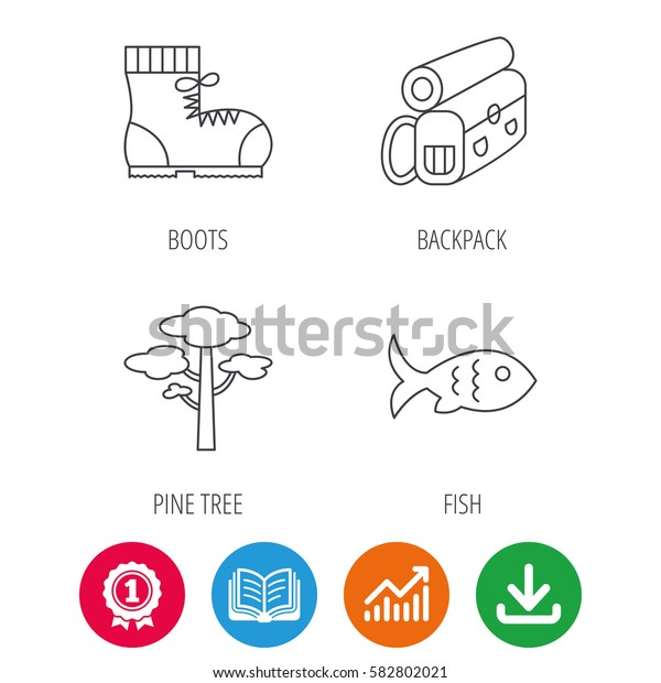 Pine tree, fish and hiking boots icons. Bonfire linear sign. Award medal, growth chart and opened book web icons. Download arrow. Vector