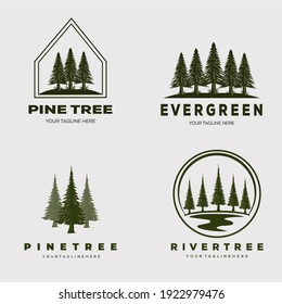 pine tree forest set logo vector illustration design
