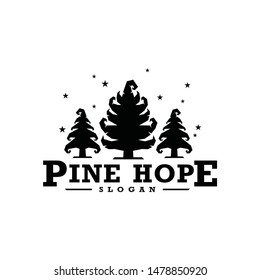 Pine tree fun hope logo vector icon with unique magic supernatural for family kid adult mature mountainer outdoor adventure at halloween or christmas
