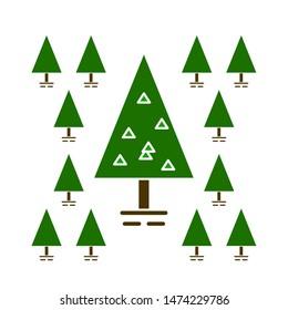 pine tree icons. flat illustration of pine tree vector icon. pine tree sign symbol