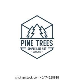 Pine tree Logo design / Line Art Evergreen