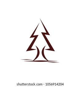 Pine Tree Logo Design Template.