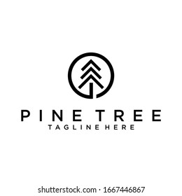 Pine tree logo design template.Abstract tree icon Pine tree vector
