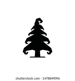 Pine tree logo vector icon with unique magic supernatural for family kid adult mature mountainer outdoor adventure at halloween or christmas