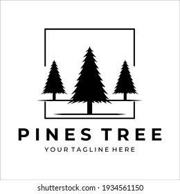 pine tree logo vector vintage illustration design
