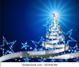 Pine tree made of filmstrip, Christmas and New year background, illustration for holiday season, postcard on the theme of the movie, EPS 10 contains transparency.