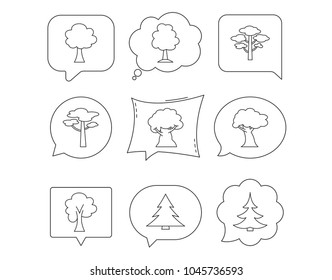 Pine tree, maple and oak icons. Christmas trees linear signs. Forest trees flat line icons. Linear Speech bubbles with icons set. Comic chat balloon. Vector