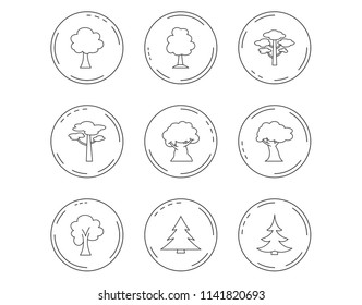 Pine tree, maple and oak icons. Christmas trees linear signs. Forest trees flat line icons. Linear Circles web buttons with icons. Vector