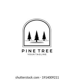 pine tree nature logo vector vintage symbol illustration design