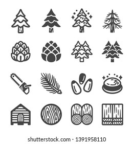 pine tree and product icon set,vector and illustration