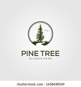pine tree with river logo vector template design