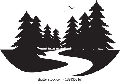 Pine tree river with parks and recreation campground with birds