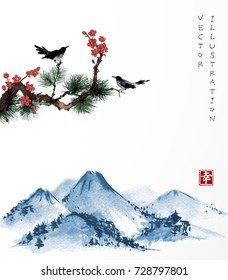 Pine tree, sakura, two birds and far blue mountains on white background. Traditional oriental ink painting sumi-e, u-sin, go-hua. Contains hieroglyph - happiness.