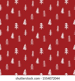 Pine tree seamless pattern. New Year and Christmas background, vector Illustration.