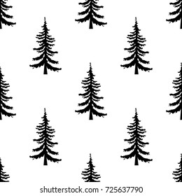 Pine tree seamless pattern on white background. Simple illustration of pine tree vector pattern for web