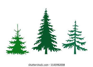 Pine tree silhouettes vector illustration. Set of different fir trees