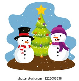 pine tree and snowmen with hat and scarf