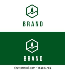 Pine tree vector logo design template