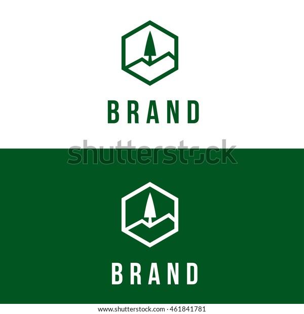 pine tree vector logo design template stock vector