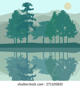 Pine trees at the bank of a lake with reflections. Mountains, water, Sun. Vector illustration.