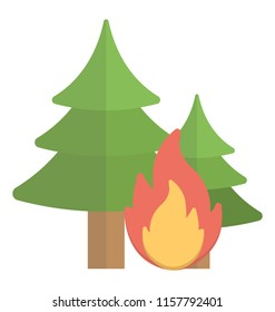 Pine trees with fire flame showing it as wildfire icon concept