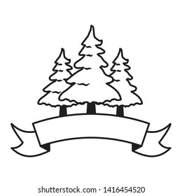 pine trees forest ribbon on white background vector illustration
