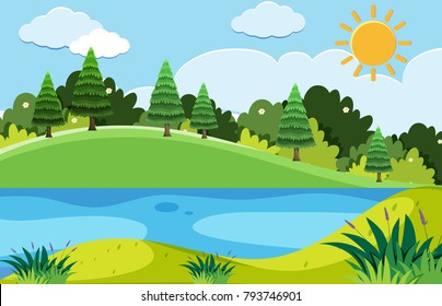 Pine trees and the lake at day time illustration