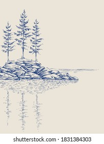 Pine trees on a rocky landscape. Trees reflection in the water artistic hand drawing
