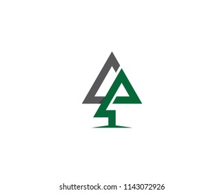 Pine with triangle symbol illustration