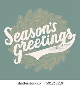 pine wreath season's greetings vintage Christmas card.