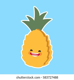 pineapple (Ananas) with cute face. Illustration funny and healthy food cartoon. Blue background
