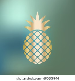Pineapple Ananas icon gold on a blue bokeh background.