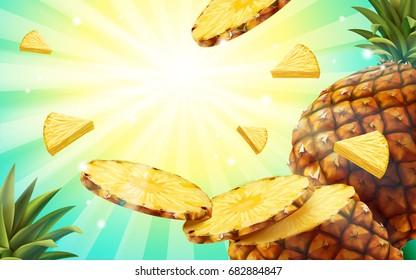 Pineapple background design, summer style fruit wallpaper in 3d illustration, flying pineapple flesh and striped pattern