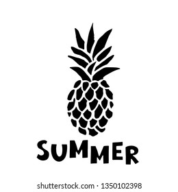 Pineapple black sketch hand drawn icon. Isolated on white background. Handwriting word summer