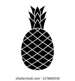 pineapple - black vector icon