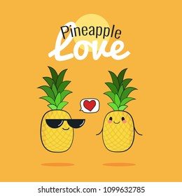 Pineapple cartoon characters, Cute fruit couple, Vintage poster flat design with Vector illustration, Raw Vegan Love concept