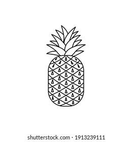 Pineapple cartoon. Flat pineapple design
