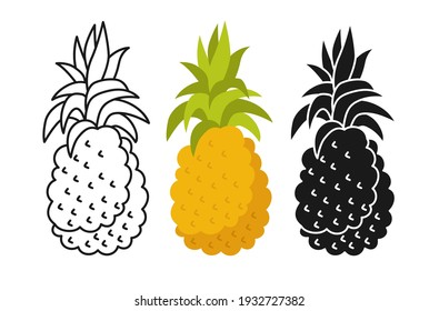 Pineapple cartoon set line icon, black glyph style. Pineapple tropical summer collection hawaii food. Comic hand drawn organic design for packaging, greeting card, poster. Isolated vector illustration