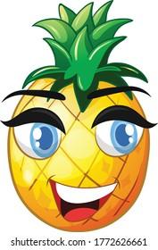 Pineapple Cartoon vector art and illustration